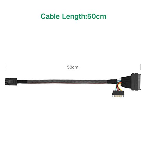 UGREEN Mini SAS HD Cable Internal Mini SAS SFF 8643 to U.2 SFF 8639 Cable with 15 Pin SATA Power Connector for Workstations,Servers and More.(1.5ft) by UGREEN (Image #4)