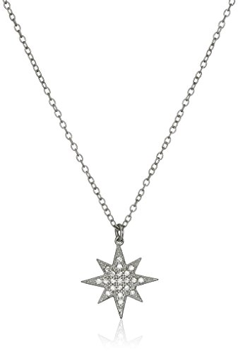 Sterling Silver Cubic Zirconia Star Chain Pendant Necklace, 16