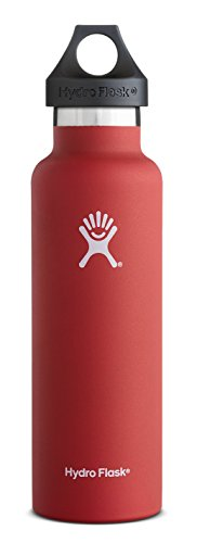 Hydro Flask 12 oz Vacuum Insulated Stainless Steel Water Bottle, Standard Mouth with Loop Cap, Lava