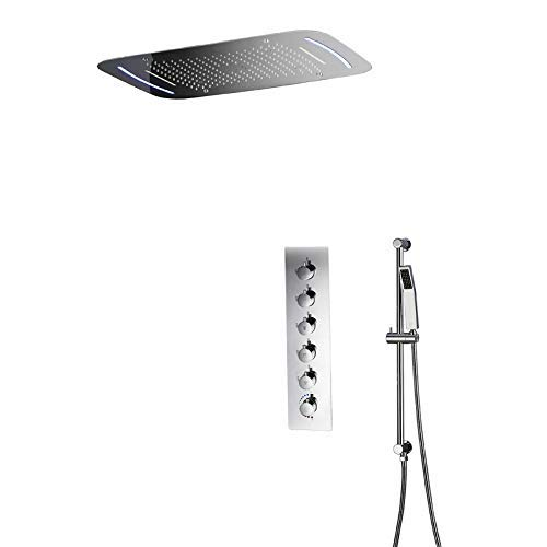 (WANNA.ME Shower System Concealed Thermostatic Shower Set Mirror Panel with LED Shower Head 43x70cm Rainfall Rain)