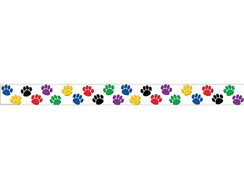 Teacher Created Resources Straight Border Trim, Colorful Paw Prints (4641)]()