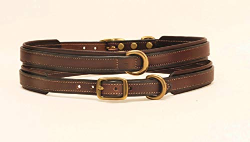 Tory Leather Padded Dog Collar 24 Inch Havana