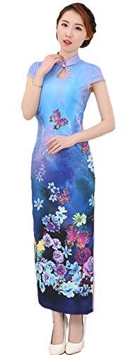 AvaCostume Womens Chinese Silk High Side Slit Long Chinese Dress Cheongsam