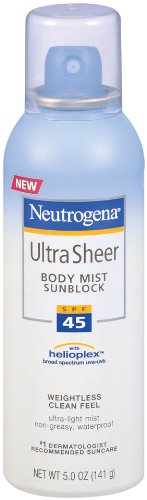 Neutrogena Ultra Sheer Sunblock Body Mist, SPF 45, 5 Ounces (Pack of 2)