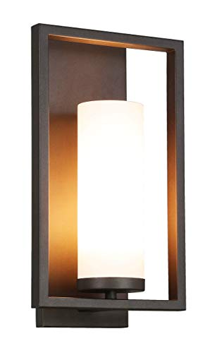 XiNBEi Lighting Wall Sconce 1 Light Bathroom Vanity Light with Acrylic Shade, Modern Sconces Wall Lighting in Dark Bronze with Gu24 Bulb for Kitchen & Corridor XB-W1143-DB