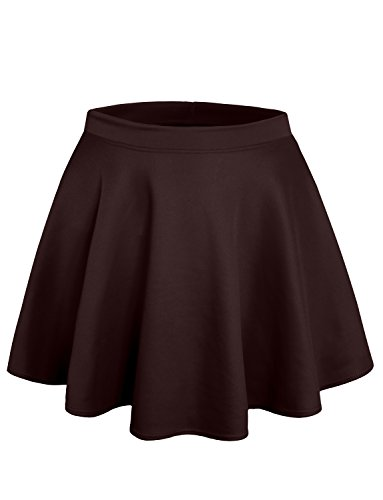 NE PEOPLE Stretchy Casual Mini Flared Skater Skirt Made in USA S-3XL (Brown Skirt Kids)