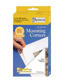 "Lineco Self-Adhesive Polypropylene Mounting Corners - 3"" Clear (100/Pkg.)"