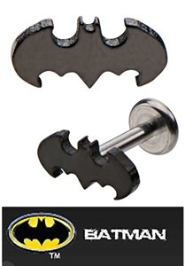 Rings Jewelry 14g Body Monroe (Officially Licensed Dc Comics Batman Bat man Shape Internally Threaded Labret Monroe lip tragus piercing bar body jewelry cartilage ring Surgical Steel 14 gauge 14g)