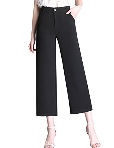Tanming Women's High Waist Calf Length Linen Wide Leg Palazzo Capri Pants (Medium, Black) (Crop Zip Pant)