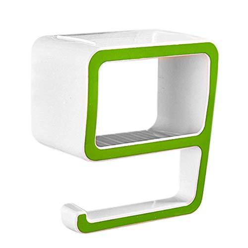 KARP 9 Shape Bathroom Towel Holder Plastic Soap Cosmetics Storage Rack – Green Color