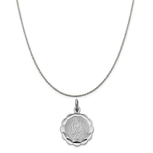 Mireval Sterling Silver Praying Hands Disc Charm on a Sterling Silver Rope Chain Necklace, 18