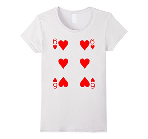 Women's Six of Hearts Playing Card Poker Card Costume Tee Shirt Medium White (Full House Costumes)