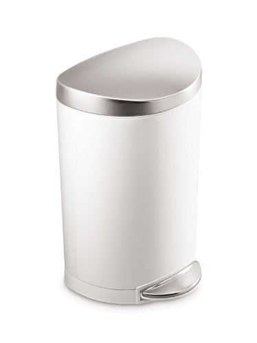 simplehuman 10 Liter / 2.3 Gallon Stainless Steel Small Semi-Round Bathroom Step Trash Can, White Steel With Stainless Steel Lid