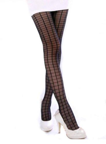 Sexy Funky Fashion Black Grid Lines Tights Stockings XS ~ M
