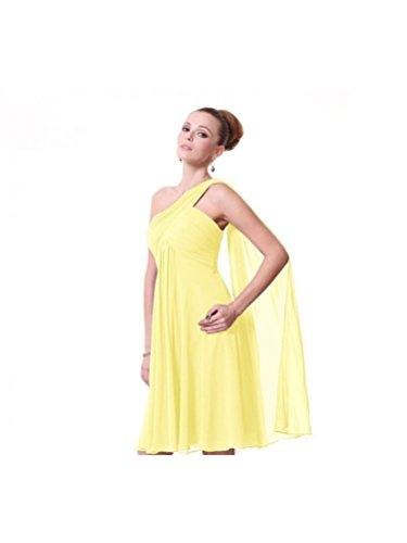 Beautyfudre Une Épaule Robe De Bal En Mousseline De Soie Froissée Longueur Du Genou Féminin Jaune
