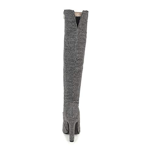Long Zip Shoesfashionhigh Boots Grey Taoffenwomen Heel SFwYqIRE
