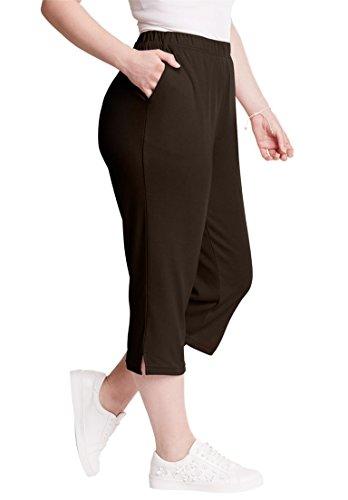 Roamans Women's Plus Size Soft Knit Capri Chocolate,2X Brown Capri Pant
