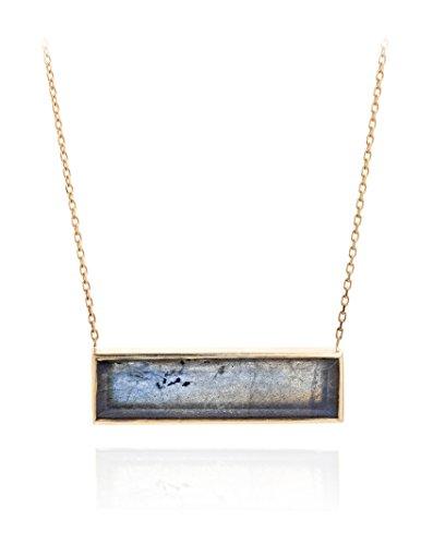 Laura Lee Jewellery femme  9carats (375/1000)  Or jaune #Gold Rectangulaire   Bleu Labradorit FINENECKLACEBRACELETANKLET
