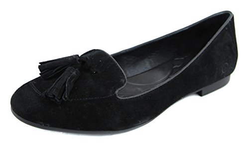B.O.C. Womens Kary Leather Square Toe Slide Flats, Black, Size 6.0