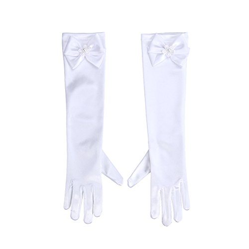 LUOEM Princess Bowknot Gloves Costume Party Gloves for Wedding Holiday (Snow -