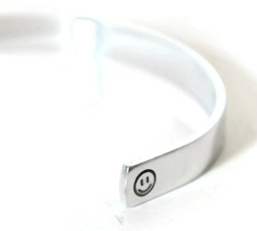 hidden secret message aluminum metal stamped cuff bracelet with custom text and optional text or emoticon outside