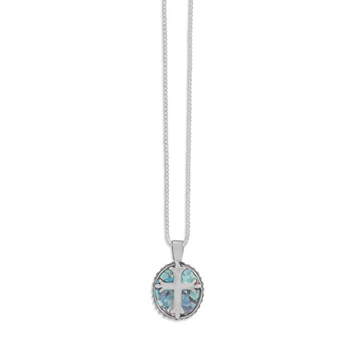 Ancient Roman Glass Necklace with Solid Cross Sterling Silver Made in Israel Box Chain Included ()