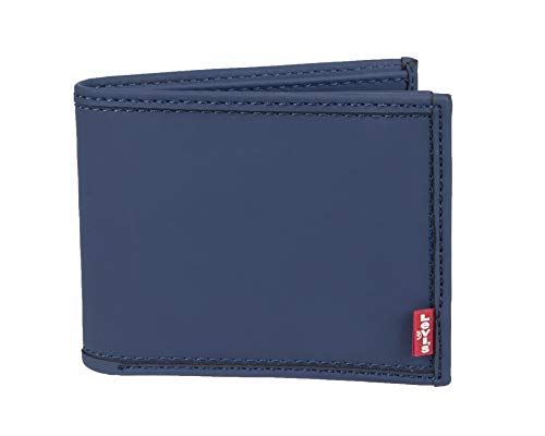 Levi's Men's Petite RFID Security Blocking Extracapacity Leather Slimfold Wallet, Navy Bryson, One ()
