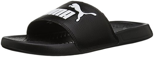 PUMA Women's Popcat WNS Slide Sandal, Black White, 9.5 M US