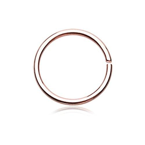 (Rose Gold PVD Basic Steel Bendable Nose Hoop (20G, L: 5/16