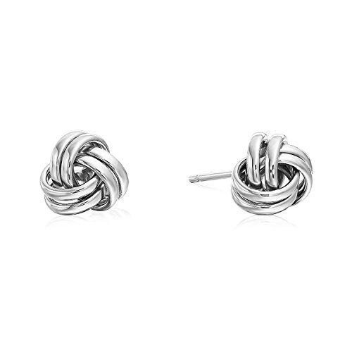 14k White Gold Polished Love Knot Stud Earrings - 7mm -
