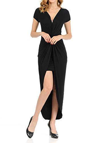Auliné Collection Womens Deep Vneck Ruched Twist Flowy High Low Maxi Dress Black Small from Auliné Collection