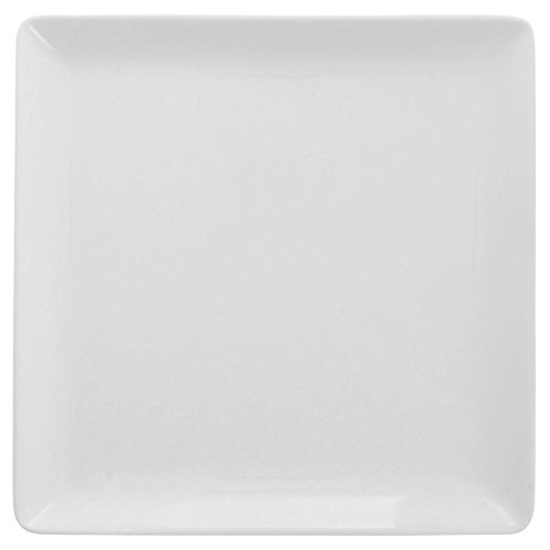 "Front of the House DDP022WHP23 Mod Square Plate, 0.75"" Height, 10"" width, 10"" Length, Porcelain, White (Pack of 12)"