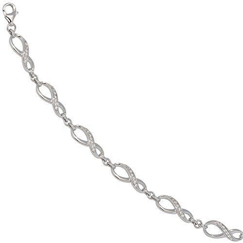Jobo Bracelet Infini-Argent Sterling 925Bracelet en argent avec oxyde de zirconium-19cm