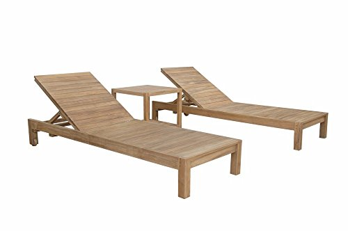 Glenmore Collection - Anderson Teak SouthBay Glenmore Sun Lounger Set with Side Table & No Cushion