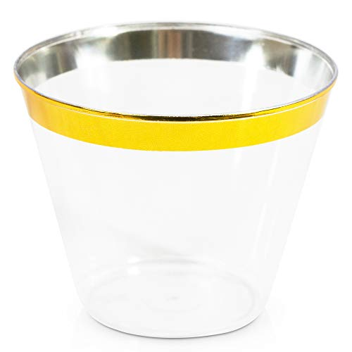 Gold Juice Glass - Crystal-Clear Plastic Tumblers Cups – 100 x 9 Oz Disposable-Recyclable Glasses with Classic Gold Rim to Elevate a Party, Wedding or Outdoor Event - Ideal for Juices, Cold Coffee and Everyday Drinking