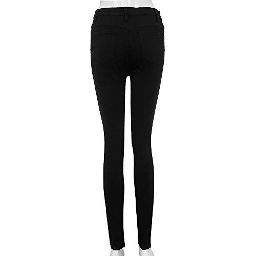 Mujeres Jeans Y ALIKEEY Baja para Mezclilla es Mezclilla Cintura Estrecha con Cintura De Pitillo Y Cintura Negro De xwvYUdqv