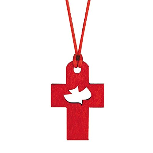 Wooden Confirmation Cross Pendant with Cut Out Holy Spirit Dove, 1 3/4 Inch
