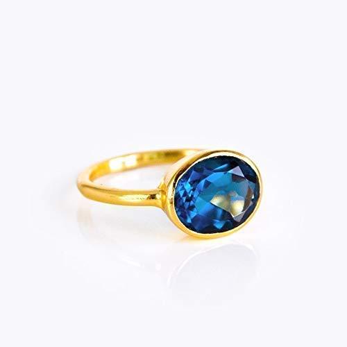 Oval Kyanite Quartz Ring Bezel Set in Sterling Silver or Vemeil Gold, September Birthstone Ring