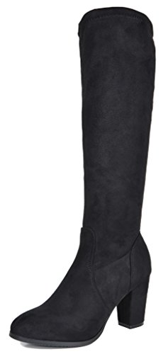 DREAM PAIRS Women's Midleg Black Chunky Heel Knee High Boots Size 7 M US Chunky Knee High Heels