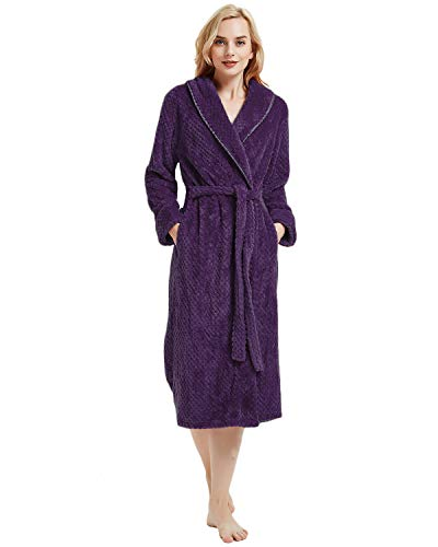 LAPAYA Women's Long Bathrobe Shawl Collar Full Length Soft Warm Plush Fleece Robe, Purple, Tag Size L=US Size M