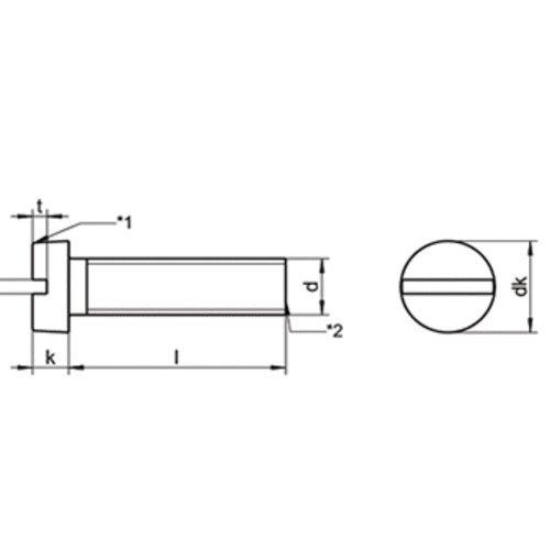 50 Stk DIN 84 A2 M 3.5X16 Zylinderschraube m Schlitz EDELSTAHL A2 V2A