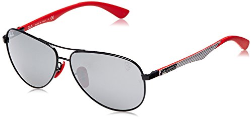 (Ray-Ban RB8313M Scuderia Ferrari Collection Aviator Sunglasses, Black/Grey Mirror, 61 mm)