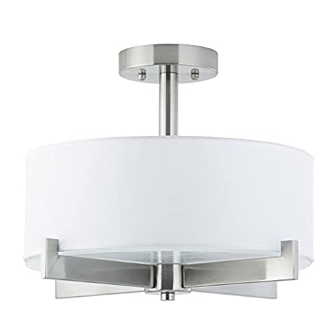 Linea di Liara Allegro Semi Flushmount Ceiling Lamp - 3 Light Fixture Brushed Nickel with White Fabric Shade Frosted Glass - 5-Inch Canopy LL-C132-BN