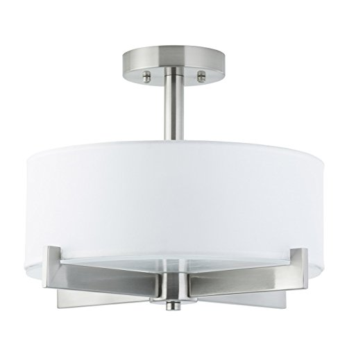 Allegro Semi Flush Mount Ceiling Light - Brushed Nickel - Fabric Shade - Linea di Liara LL-C132-BN ()