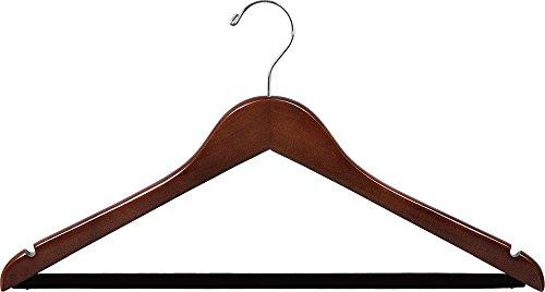 - Wooden Suit Hangers w/Black velvet Bar Walnut Finish Box of 100