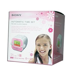 Sony ICF-C180 FM/AM Clock Radio with Automatic Time Set (Pink)