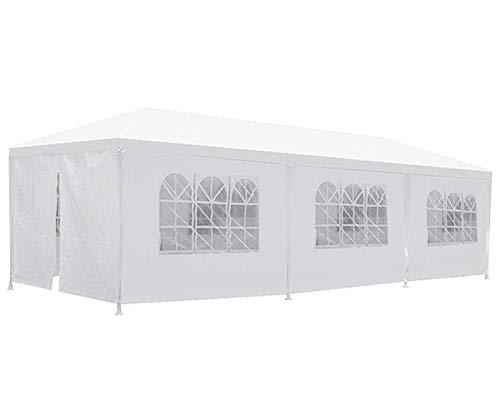 (Party Tent Patio Tent Wedding Tent 10x30ft Outdoor Patio Shed Gazebo BBQ Shelter with 8 Removable Sides Walls for Party)