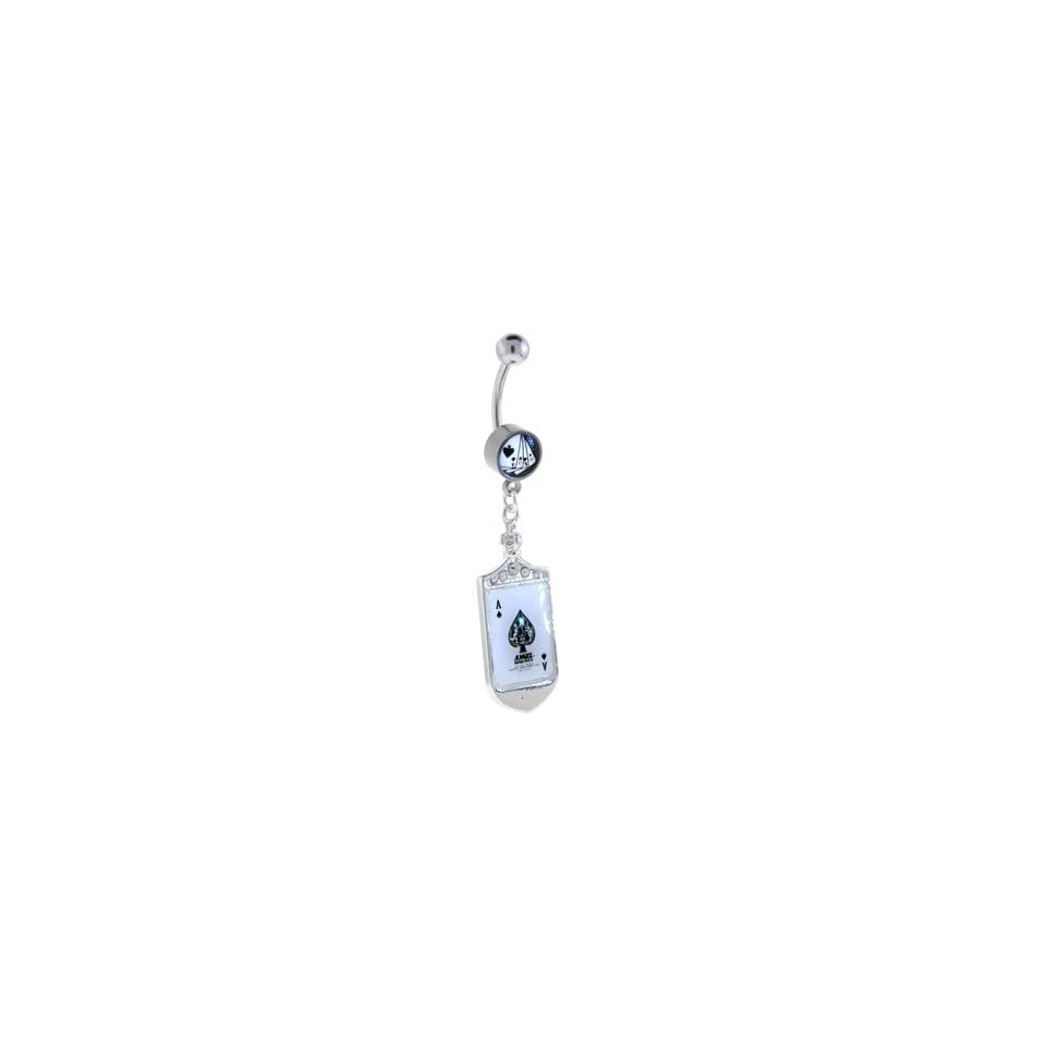 Straight Poker Hand Ace of Spades Jeweled Dangle Belly Ring