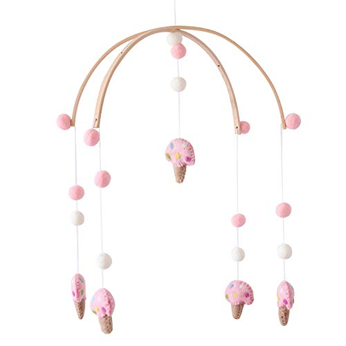(Baby Crib Mobile Ice Cream Decor Hanging Toys Art Mobile Bell Rattle Toys,Wooden Wind Chimes Night Nursery Decoration for Newborn Gift Boys and Girls Baby Chandelier Photography Props (Pink))
