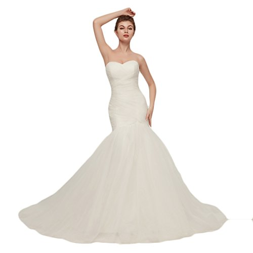 OYISHA Womens Sweetheart Mermaid Wedding Dress Tulle Bridal Dresses Long WD162 Ivory B 12 (Strapless Trumpet)